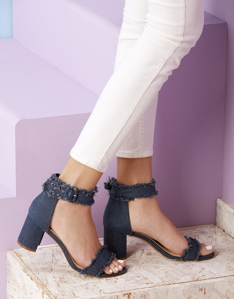 f51deedb4 Blue block heel sandal with fringe straps