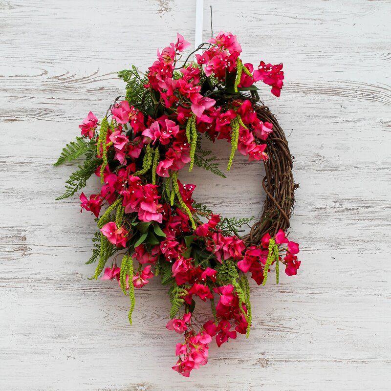 Bright Bougainvillea Amaranthus Fern Asymmetrical Summer 22 Polyester And Silk Wreath Silk Wreaths Summer Wreath Easter Spring Wreath