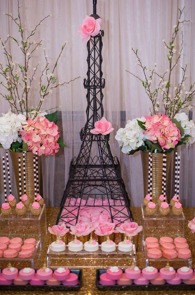 amazing pink desserts at a paris bridal shower party see more party planning ideas at catchmypartycom