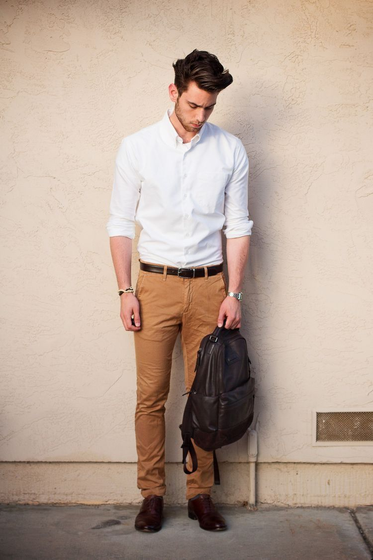 Simple summer combo with a white button collar shirt dark brown