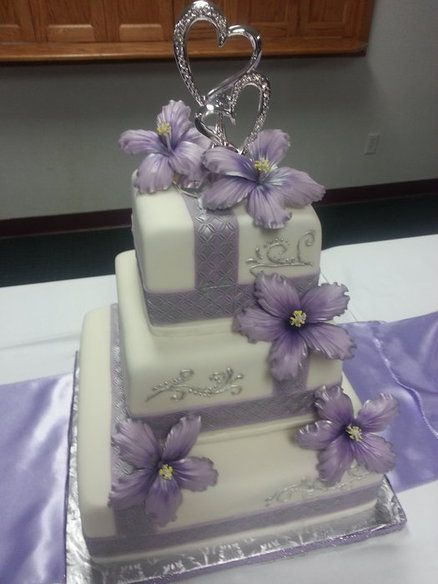 Lavender And Silver Wedding Cake With Sugar Hibiscus Wedding Ideas