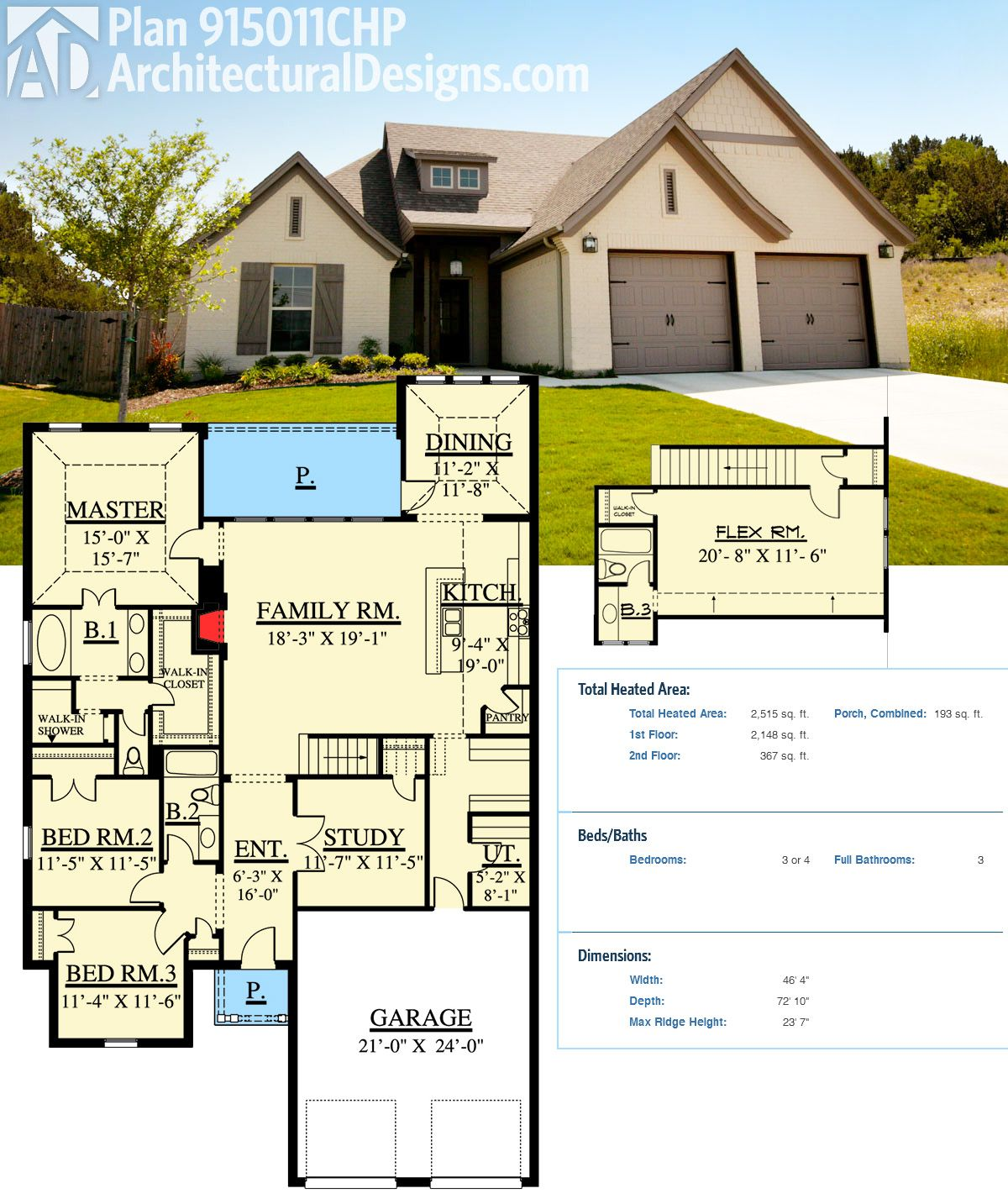 Plan 915011chp traditional house plan with second floor for Flexible house plans