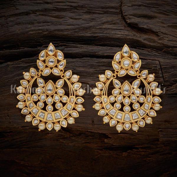 Awesome Two Tone Earring E1163 Indian Jhumka Jewelry Earring Stylish Jhumka Kundan GP Jewelry Earring Silver Kundan Earring