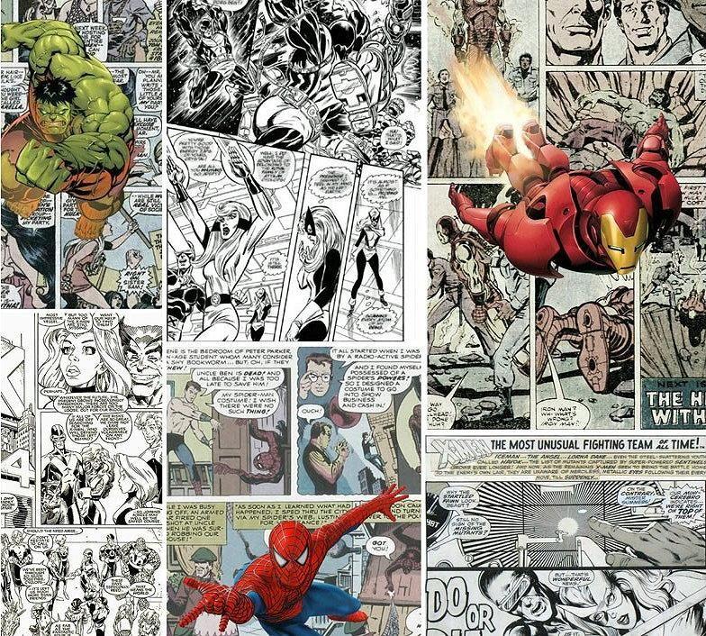 Comic Strip Superhero Wallpaper Thor Hulk Iron Man 3D Wall