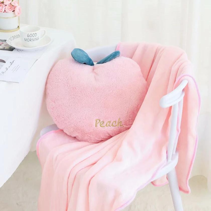 Kawaii Pink Peach Pillow And Blanket In 2020 Peach Pillow Pillows Kawaii Pillow