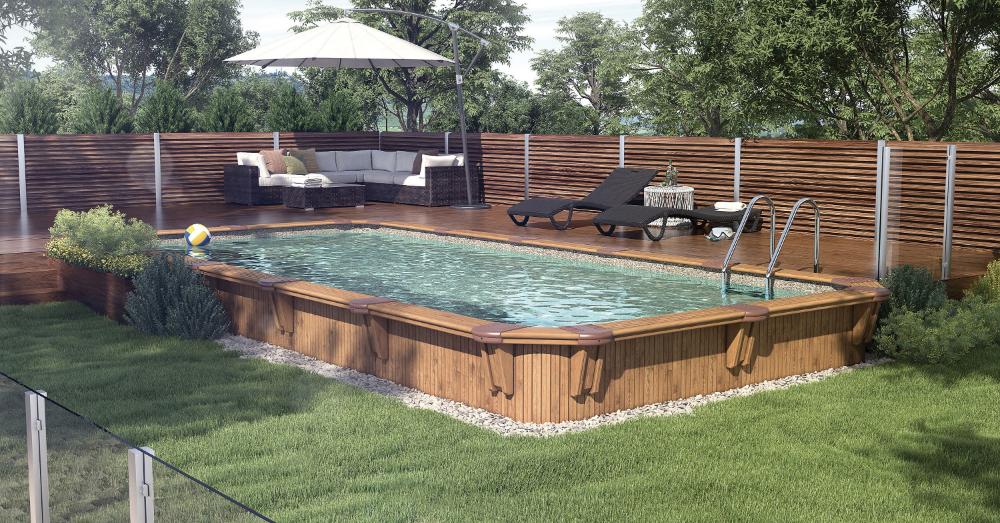 Semi Inground Pool Rectangular In 2020 Rectangular Pool Semi