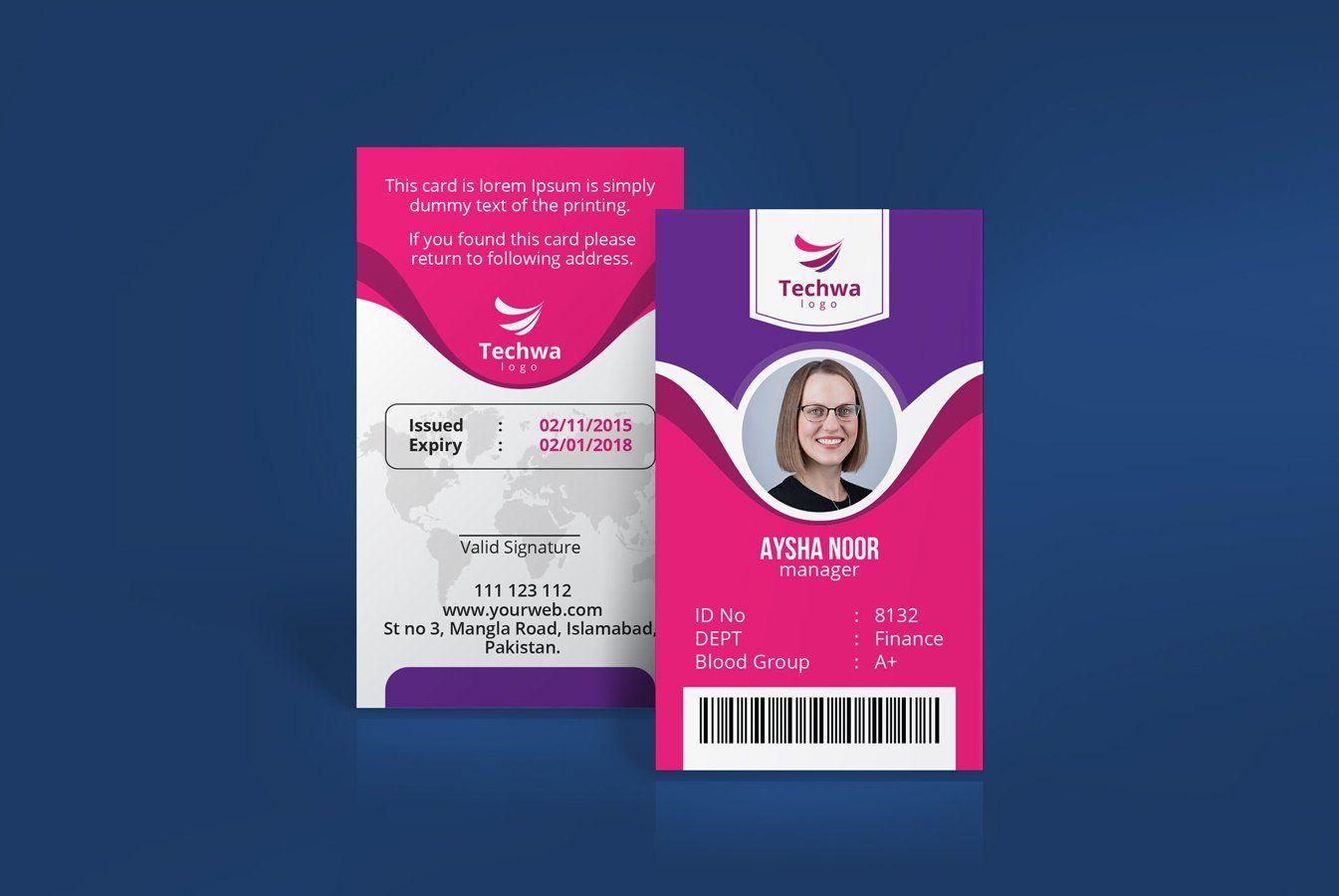 Professional Office Id Card Design Card Design Id Card Template