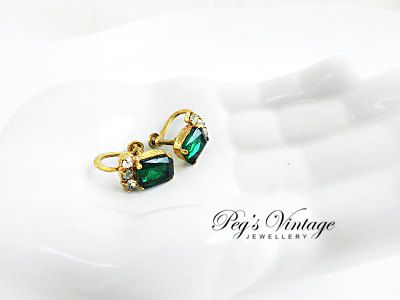 Beautiful 1930s Emerald Green Signed Czech Glass Screw Back Earrings by PegsVintageJewellery, $28.00