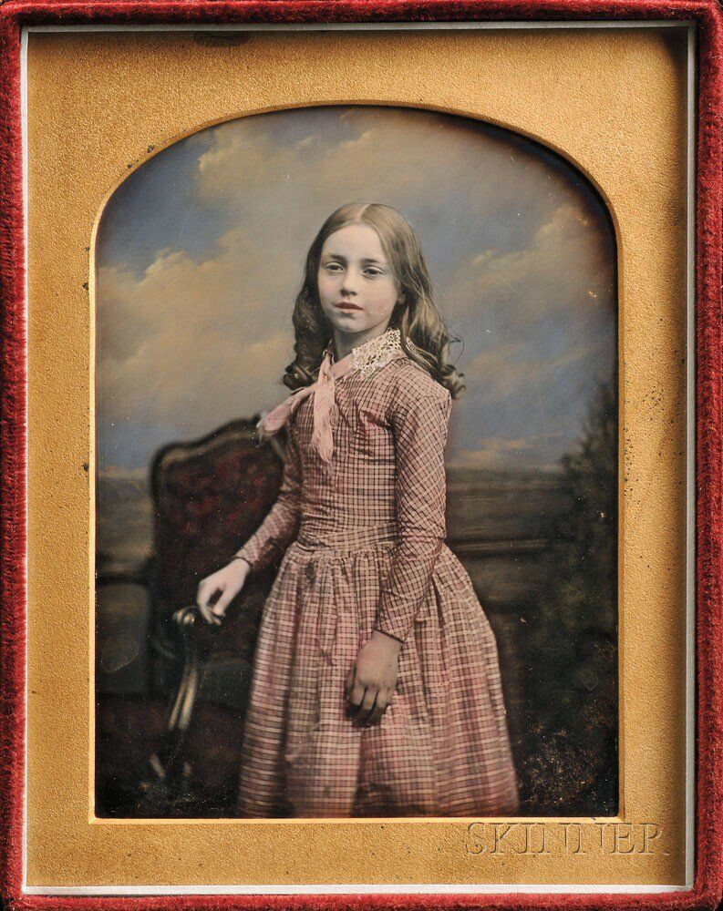Daguerreotype colored of a girl...Kilburn (British, 1818-1891) Hand-tinted