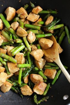 Chicken and Asparagus Teriyaki Stir-Fry Servings: 4 • Size: 1 1/2 cups • Points  : 7 • Smart Points: 5 Read more at www.skinnytaste.c...