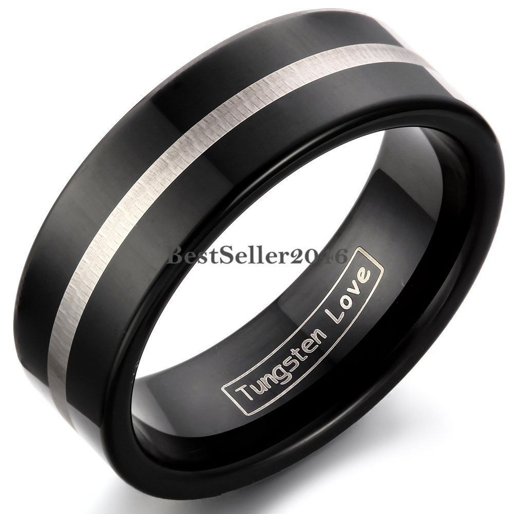 8mm Black Tungsten Carbide Flat Comfort Fit Ring Silver Center Mens Wedding Band…