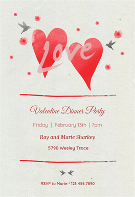 Lovebirds Printable Invitation Template Customize Add Text And