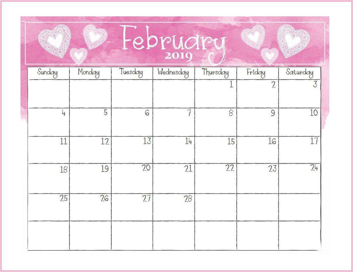 Printable February Desk Calendar