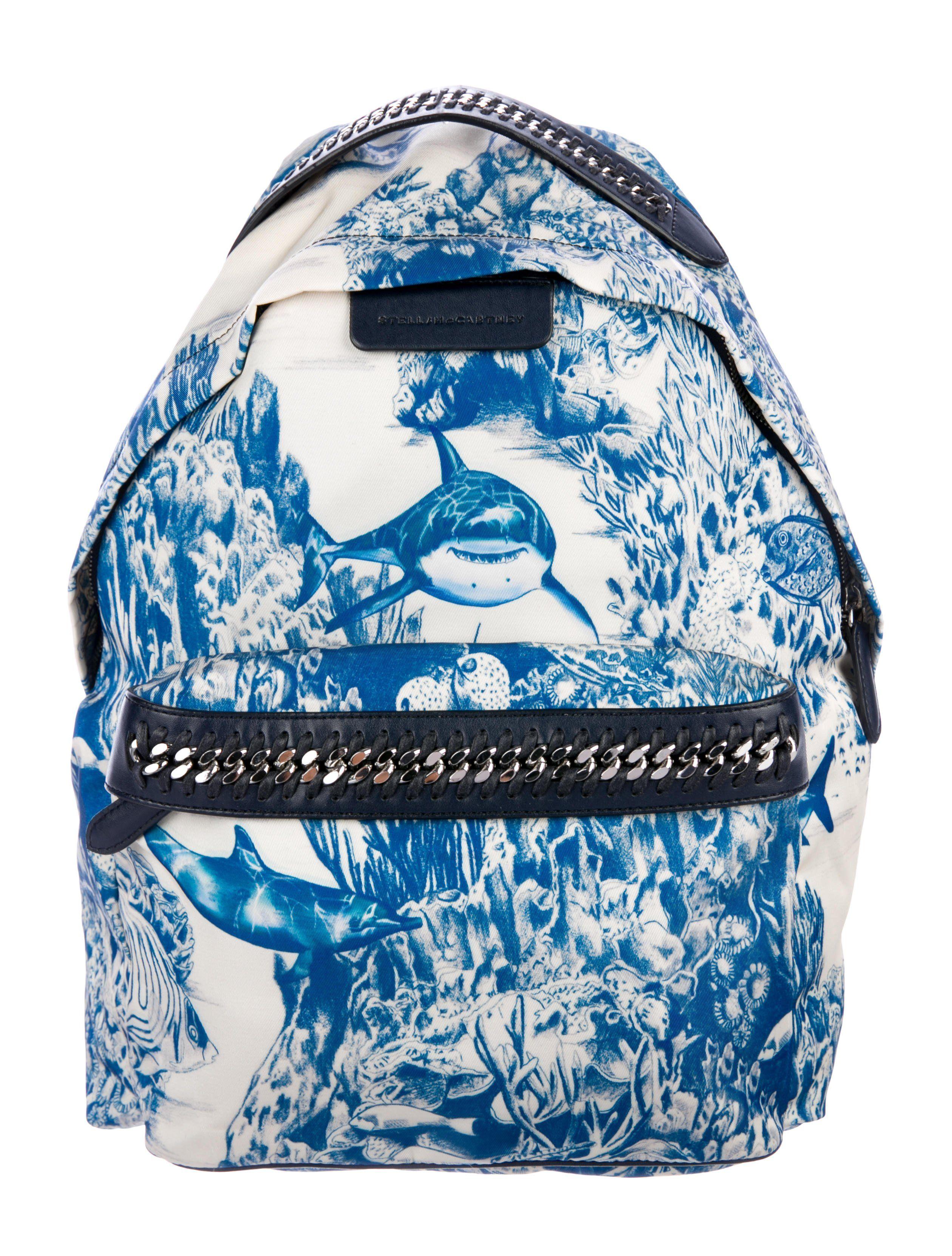 71686592af65 Creme and slate printed nylon Stella McCartney Falabella GO backpack with  ruthenium hardware