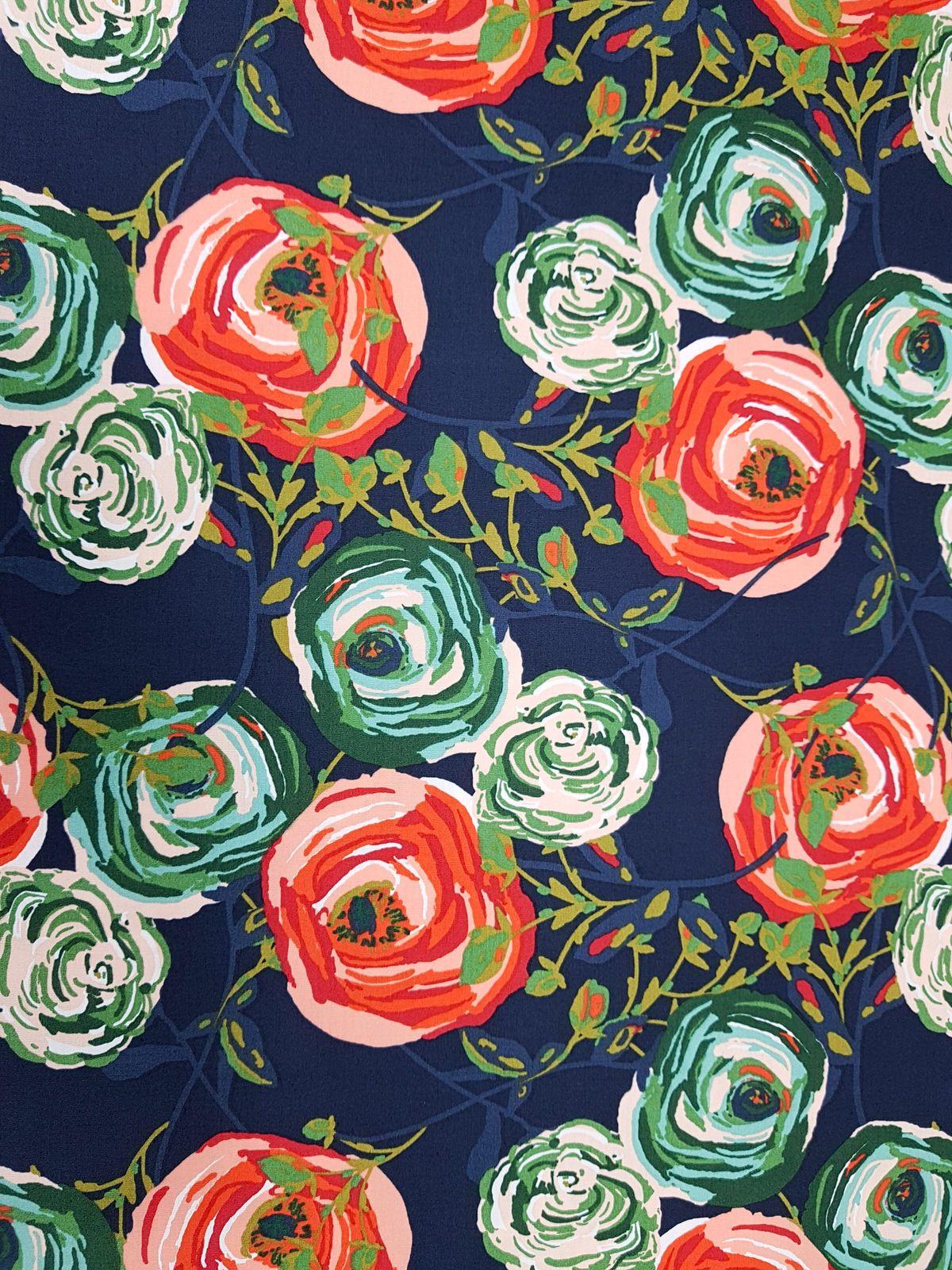 rositas rosas flores BW-popelín algodón Hilde Hilco tela