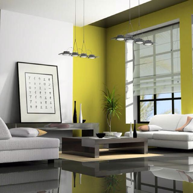 This is a nice use of chartreuse to liven up a gray and white color ...