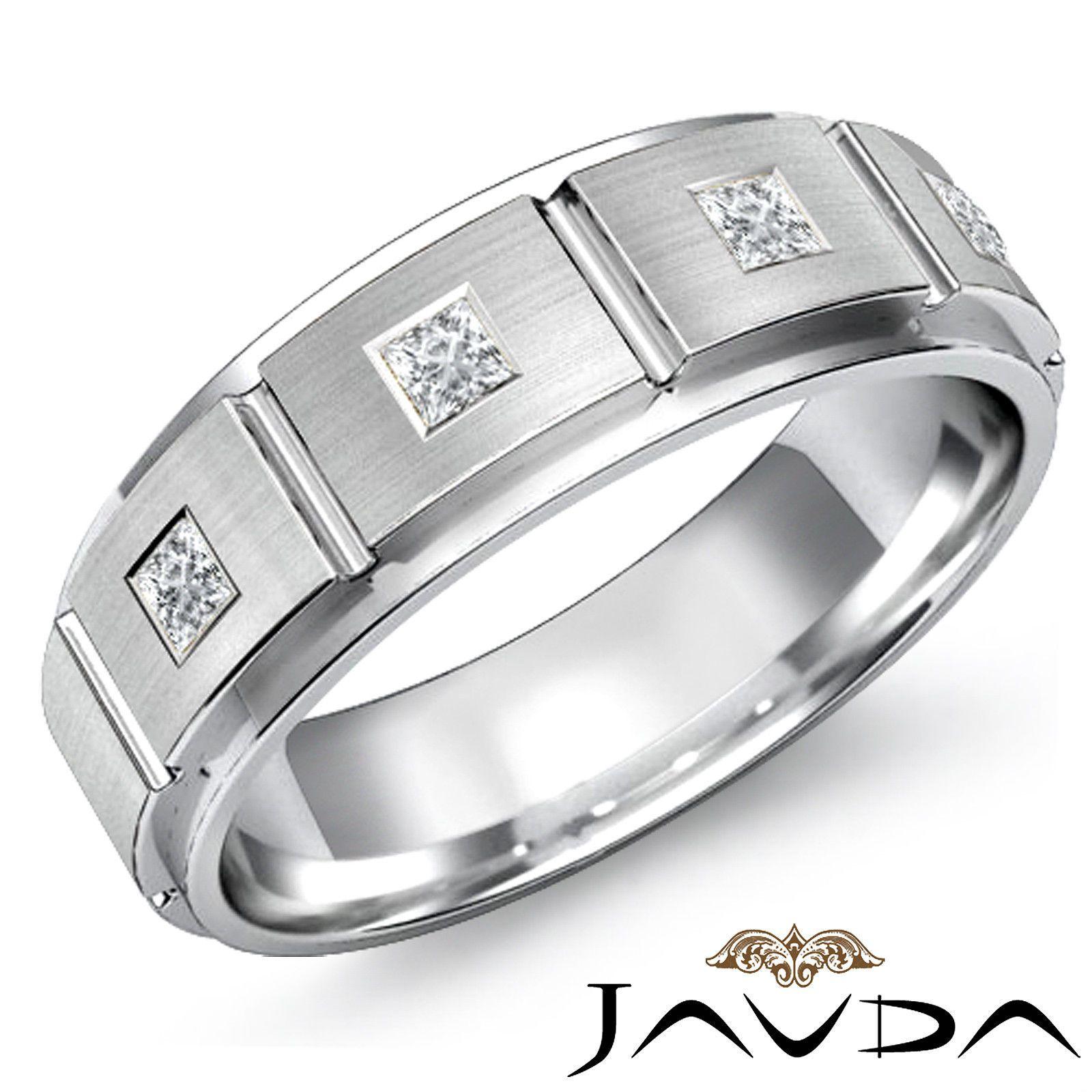 7mm Mens Princess Diamond Half Wedding Band 18K White Gold