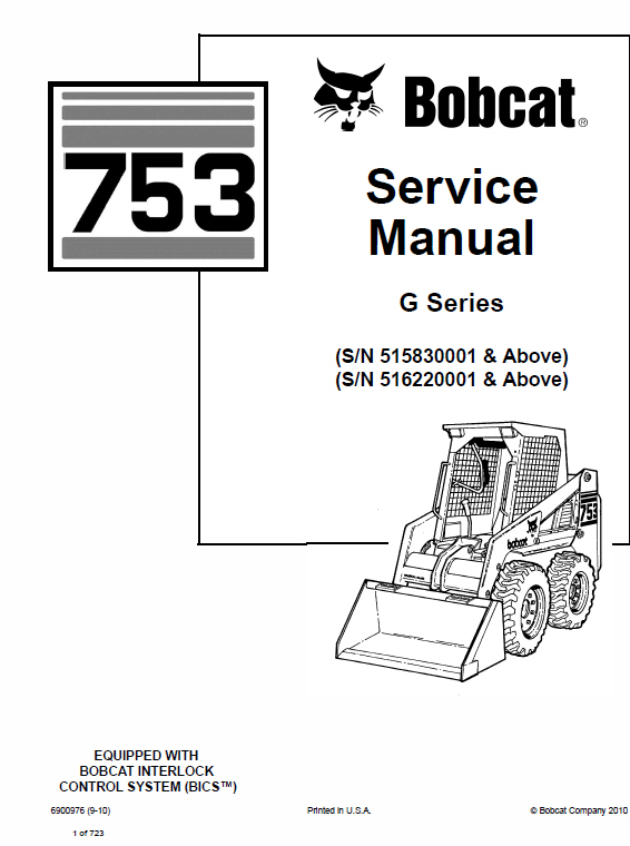 Bobcat 753 G Series Skid Steer Loader Service Manual Bobcat Repair Manuals Skid Steer Loader