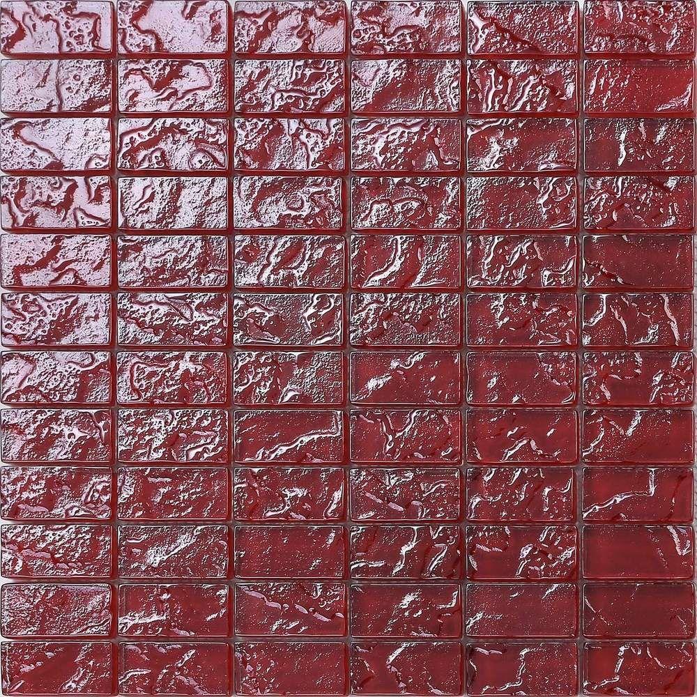 Details Zu Glas Mosaik Fliesen Matte In Rot Texturiert Lava Baustein