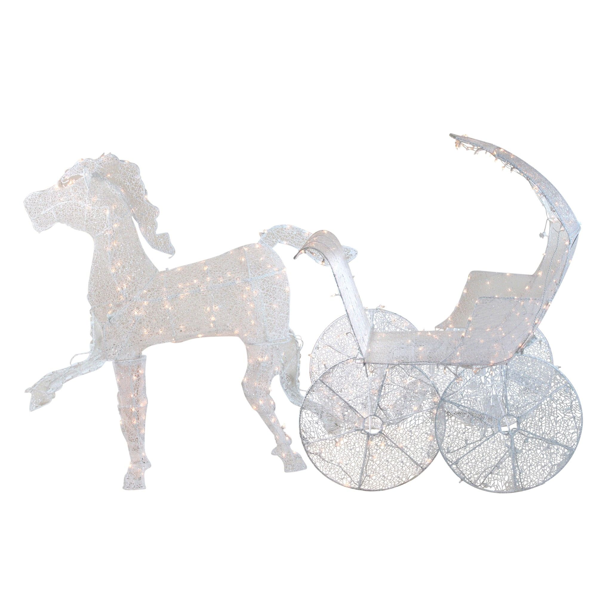 Lighted Crystal 3 D Horse And Carriage