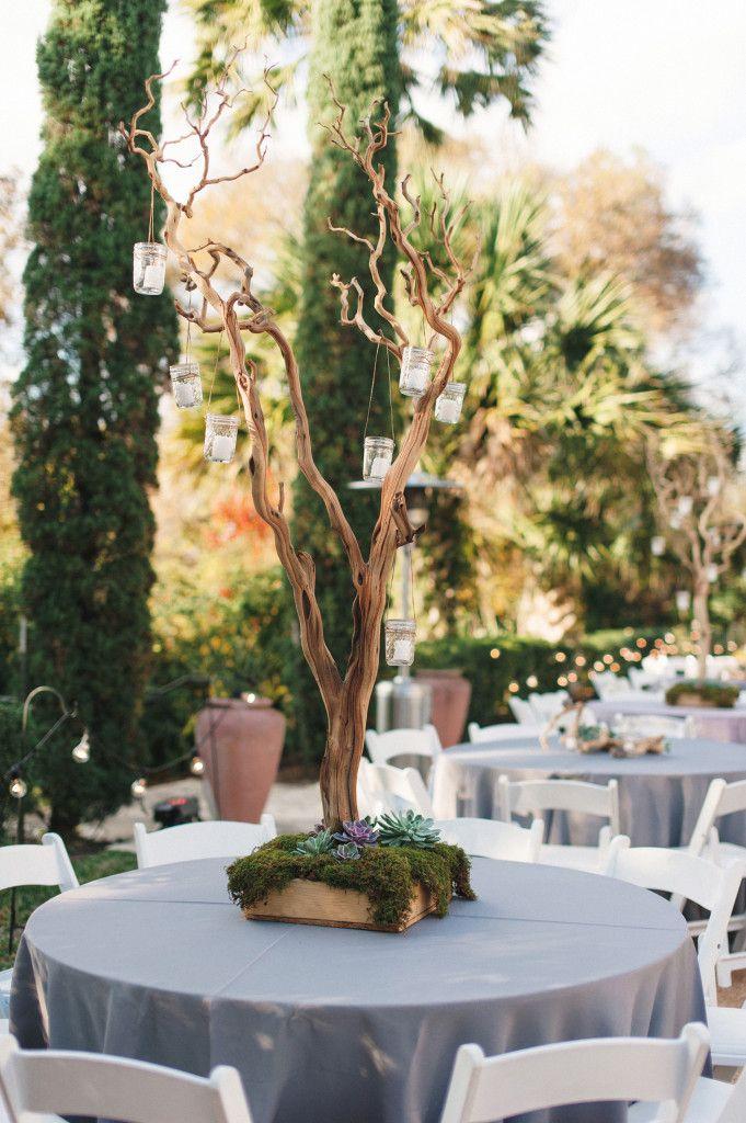 Moss succulent branch centerpiece by stems floral design