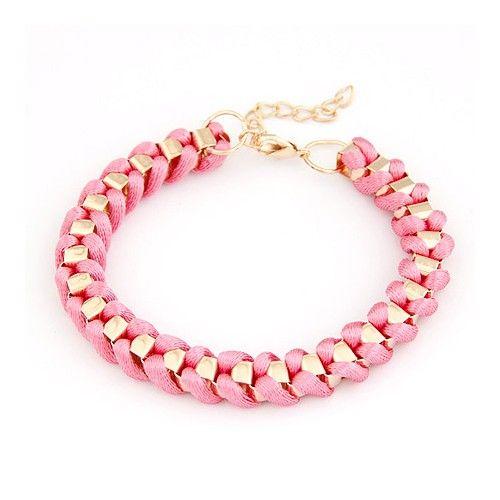 Western Simple Style Rope Weaving Bracelet - Pink