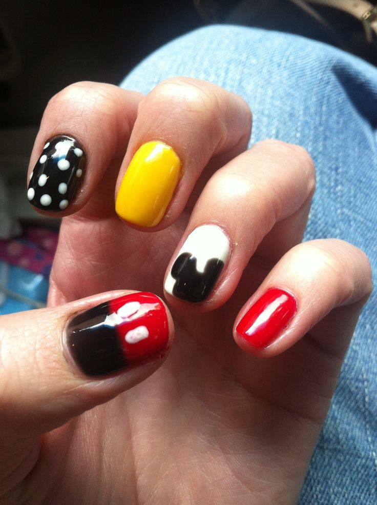 Simple Mickey Mouse Silhouette Nail Art Pinterest Nails