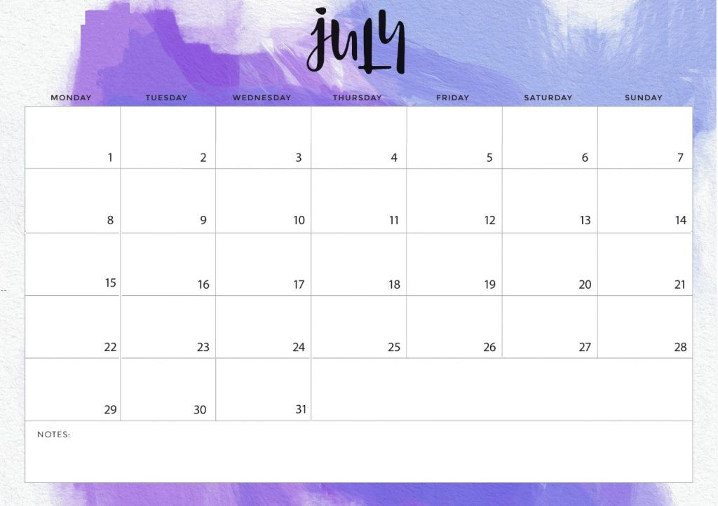 July 2019 Calendar In Pdf Word Excel Printable Template Monthly