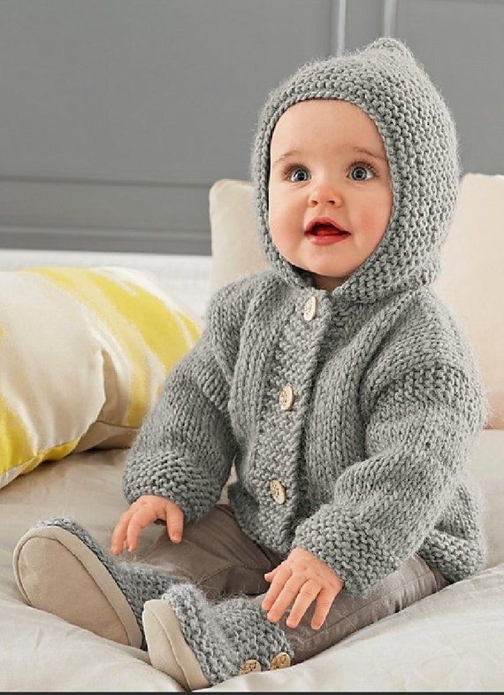 9846d200e Vintage Knitting Pattern Baby Pixie Hoodie Hooded Jacket   Booties Set  Chunky Easy Knit Instant Digi