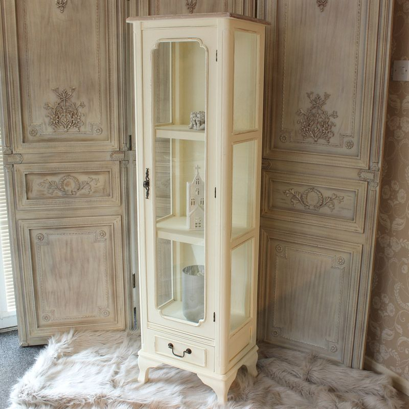 Vintage Provence Und Shabby Chic Im: Provence Cream Glazed Display Cabinet With Drawer