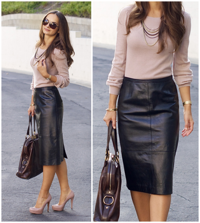 c07f07eb572a1 Imagen relacionada Black Leather Pencil Skirt