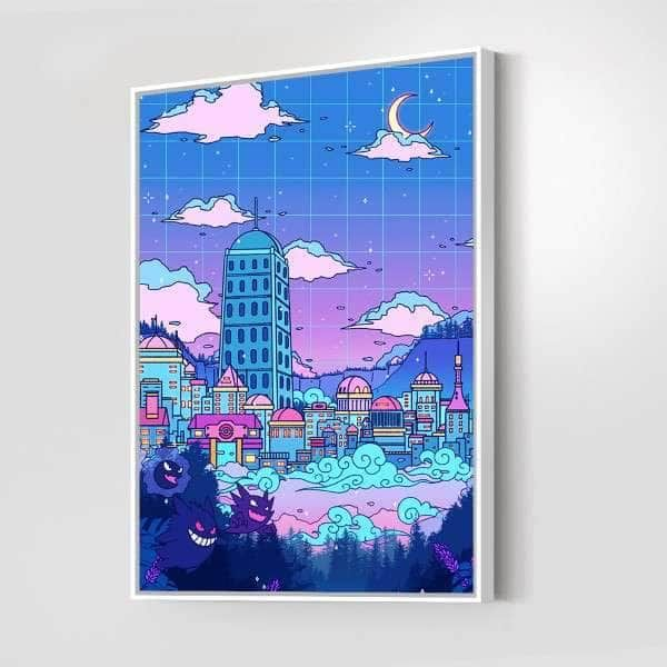 Lavender Town Canvas Set - 1 Piece / 48x36 / Gallery Wrap + White Floating Frame