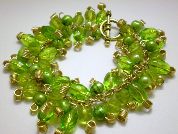 Green Freshwater Pearls and Glass Beaded by KirasCreations on Etsy, $25.00