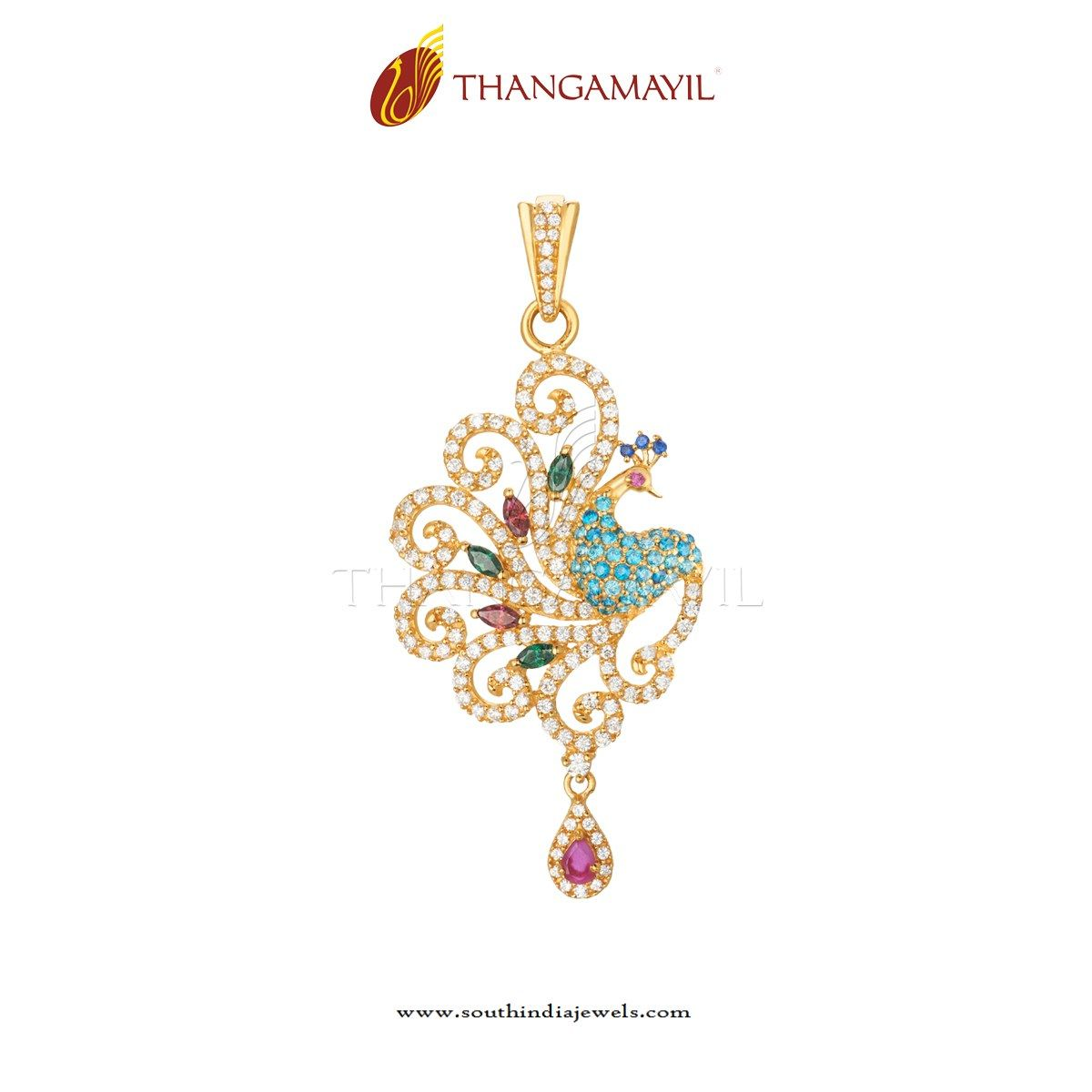 Latest Gold CZ Stone Pendant | Stone pendants, South india and Ear ...