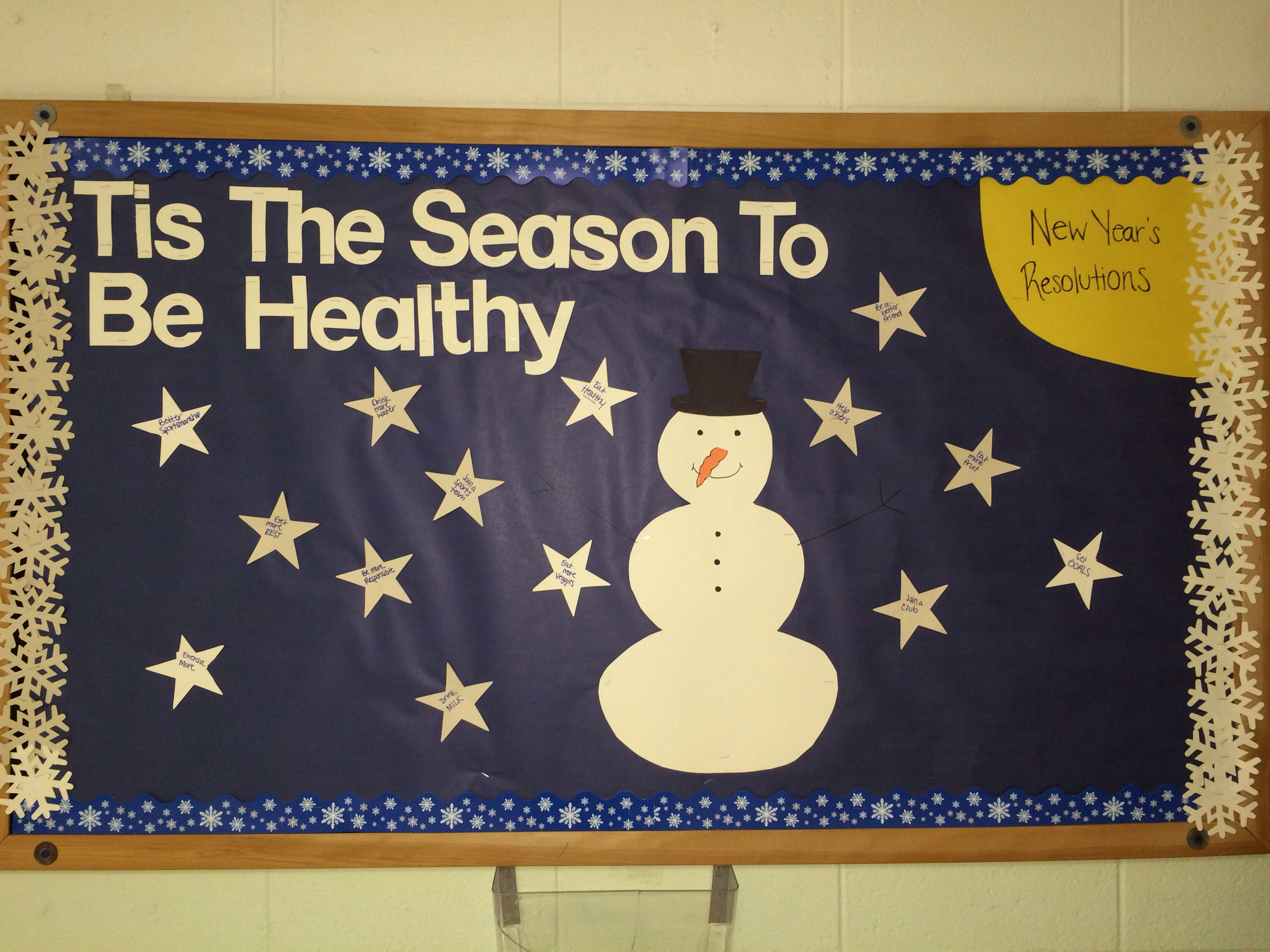 Winter Bulletin Board All The Stars Have Ideas For Healthy New Years Resolutions Boards Nurse