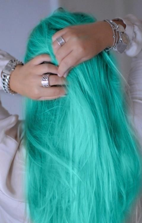 mint green, very vibrant, gotta be brave to pull this off