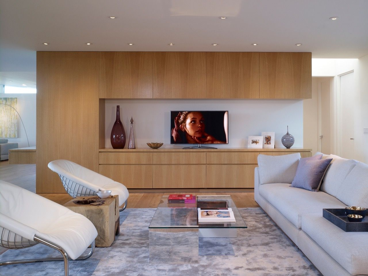 Showing 18 Of 31 Photos About Modern Family Room With Oak Wood Built In Tv Cabinets