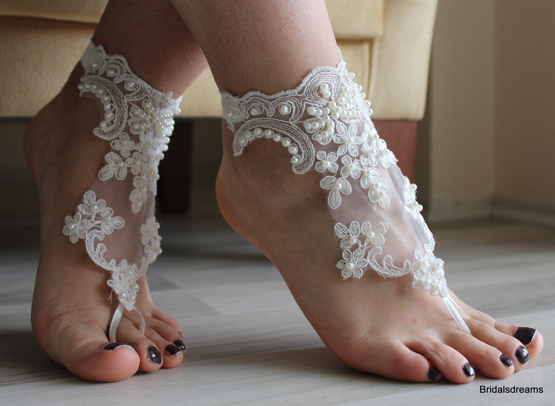 Bridal Barefoot, Sandals, Beach Wedding Lace Sandals, Bridal Shoes, İvory Lace Sandals, Wedding Anklet,Bangle