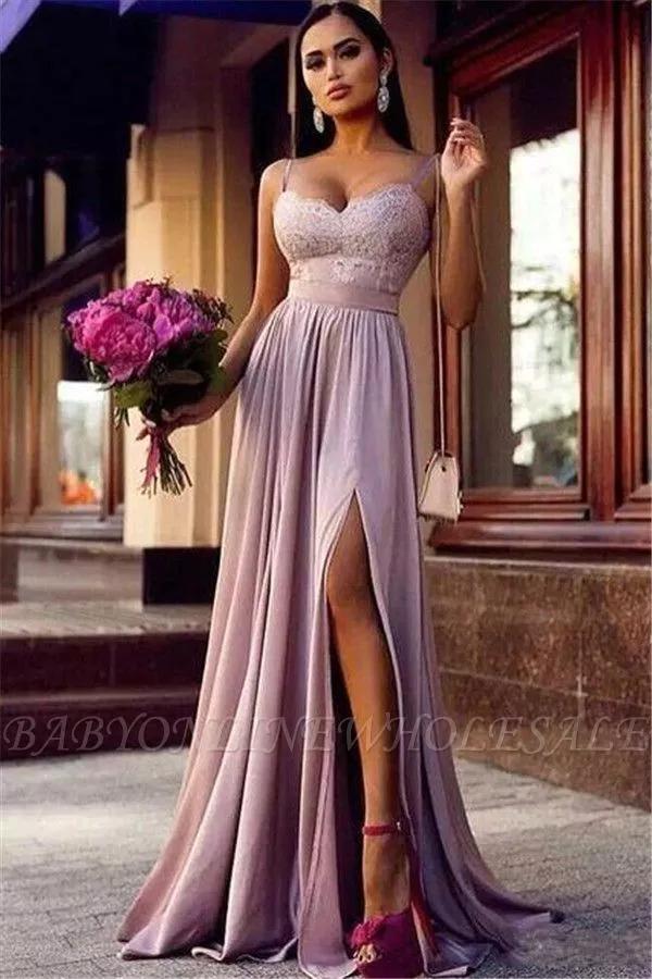 Moderne Lila Abendkleider Bodenlang Schlichte Abendmode Spaghetti Trager Abendkleid Lila Abendkleid Elegante Abendkleider