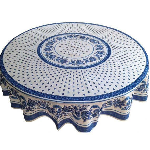 French Country Tablecloth And Napkins, Provence Tablecloth, Round Tablecloth,  White With Blue Tablecloth