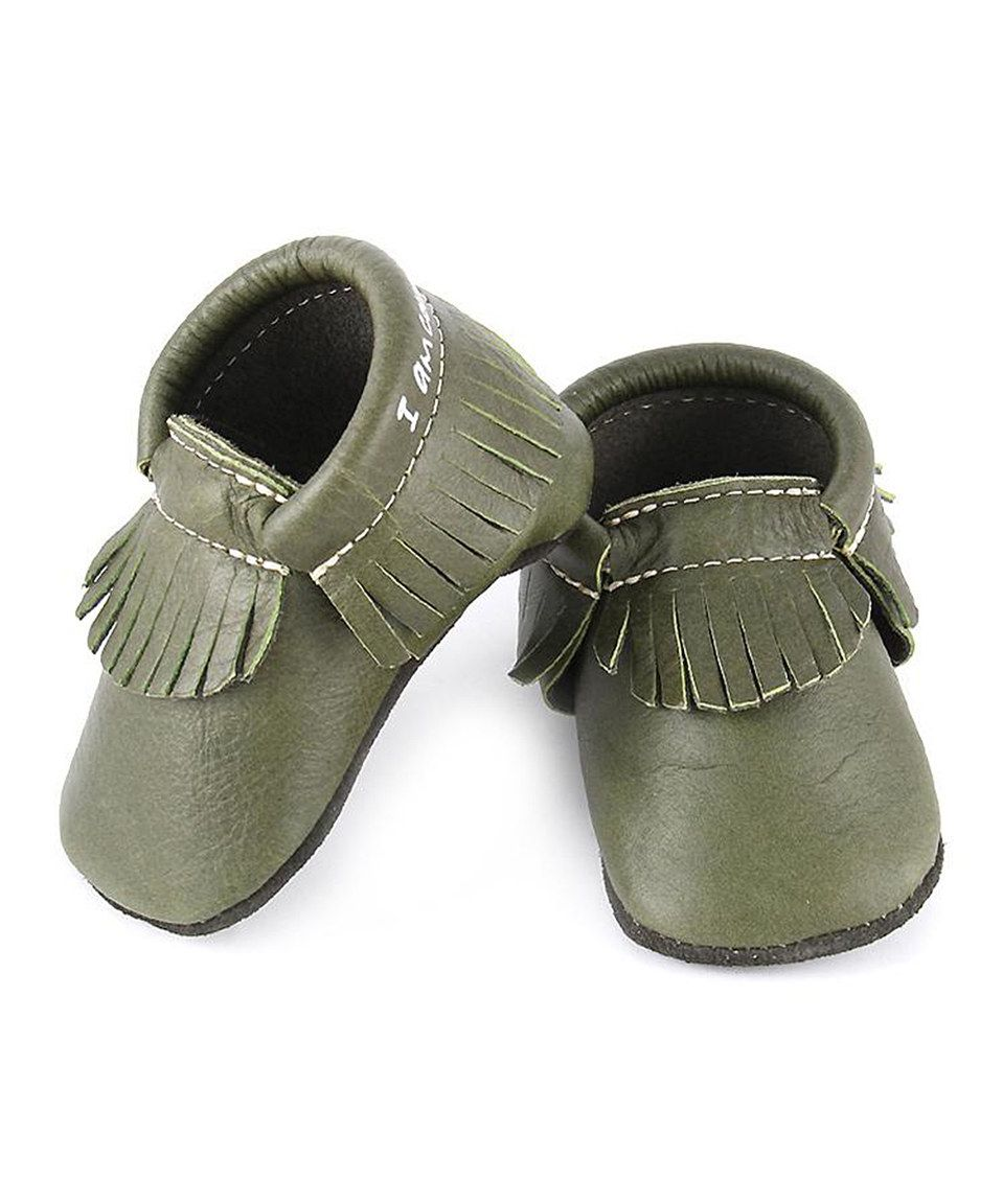 Love this first steps Olive 'I Am Courageous & Strong' Leather Moccasin by first steps on #zulily! #zulilyfinds