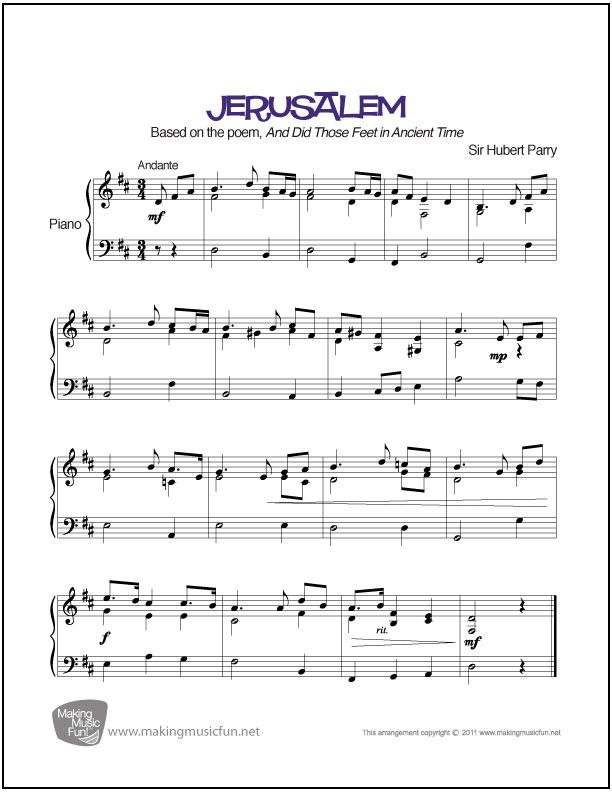 Jerusalem Sheet Music for Piano (Digital Print) Piano - printable time sheet