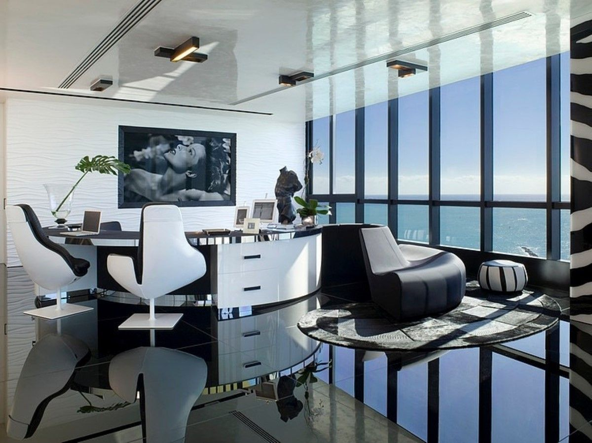 Extraordinarily Fantastic Spacious Home Office With Superb And Luxurious  Furnishing Plus Gorgeous View Out The Glass