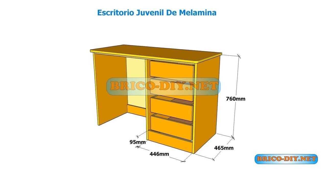 Como hacer un escritorio juvenil planos con medidas para for Medidas de un escritorio de oficina