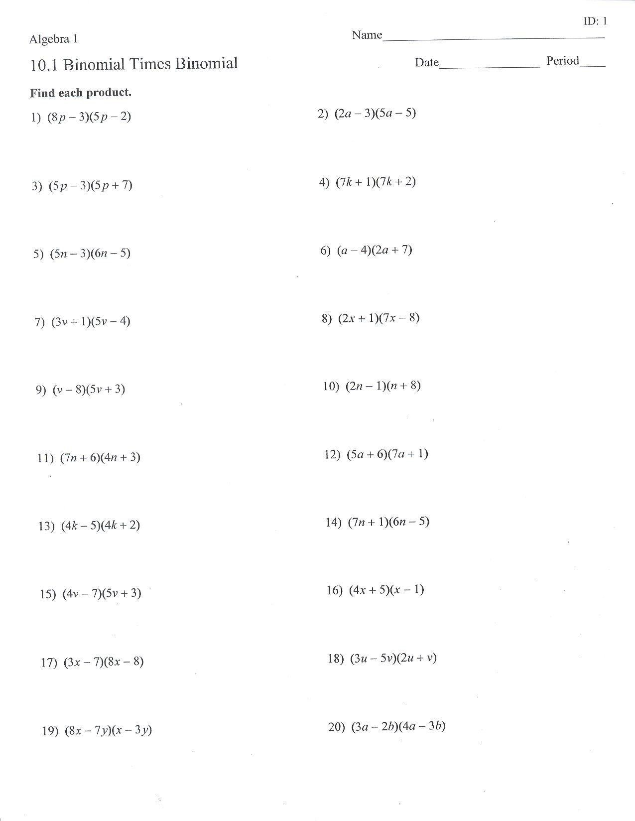 Formalformal Polynomials Worksheet With Answers