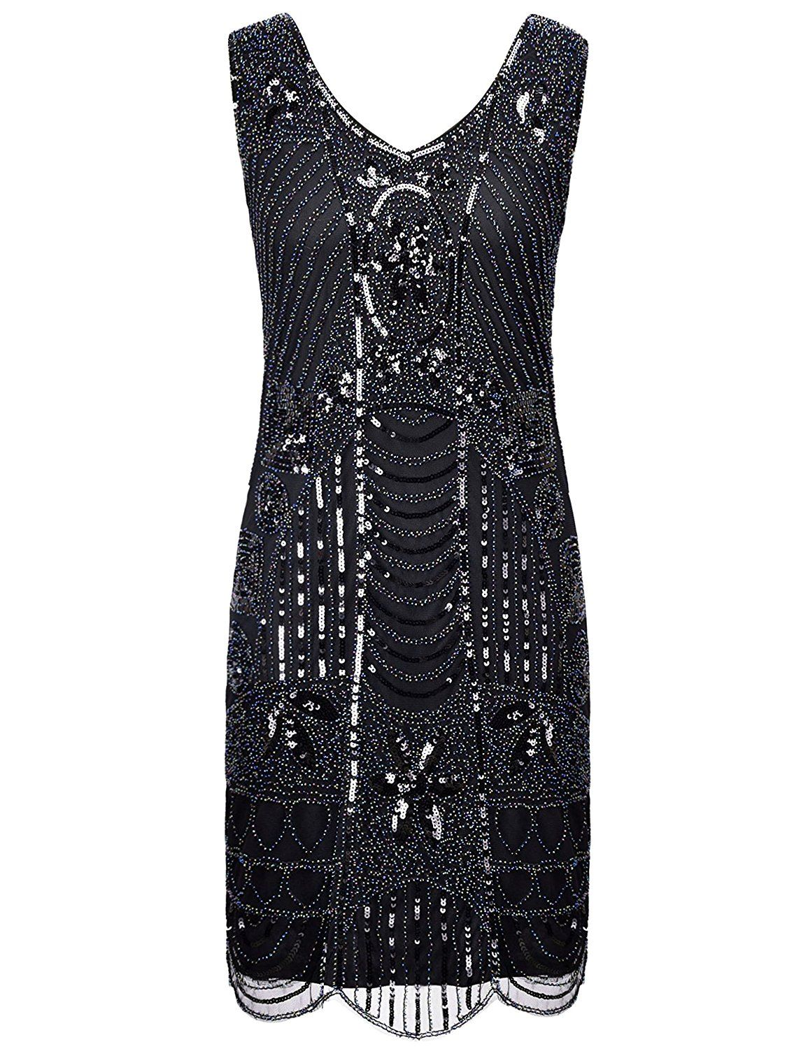 97ac482c PrettyGuide Women's 1920s Gatsby Sequin Art Deco Scalloped Hem Cocktail Flapper  Dress >>> Startling review available here : Dresses
