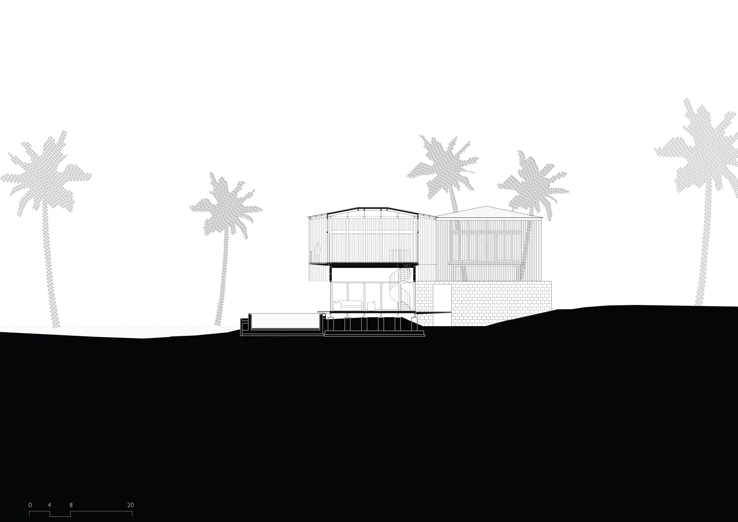The stilted pavilions of the resort sit light on the landscape in contrast the laterite courtyard walls, which tie these pavilions into the land. #architecturedrawing #section #blackandwhite #hoteldesigner #hospitalitydesigner #luxuryhoteldesign #luxuryhotelsworld #traveldesign #boutiquehotels #boutiquehoteldesign