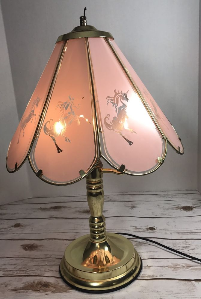 Vintage Unicorn Brass Touch Table Desk Lamp 3 Way Glass Shade 8 Panel Rare Lamp Touch Lamp Unicorn Lamp