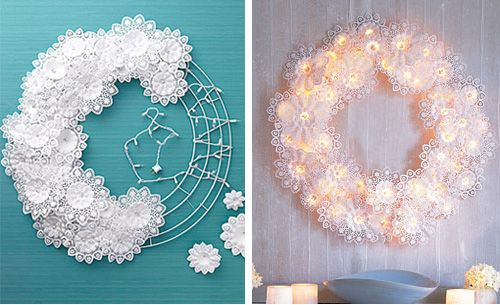 Doilies to make a Christmas Wreath