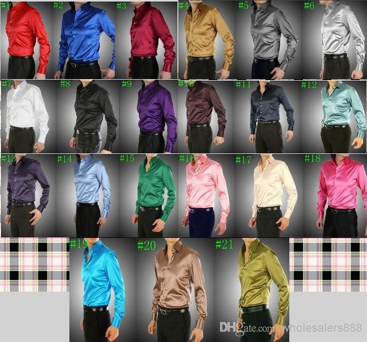 Whole New Arrival 21 Colors Elastic Silk Like Satin Men Wedding Shirt Groom Shirts Wear Bridegroom